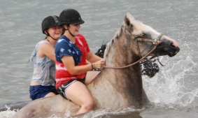 """Gabrielle on Porker and Syd on Bella """"ocean racing"""""""