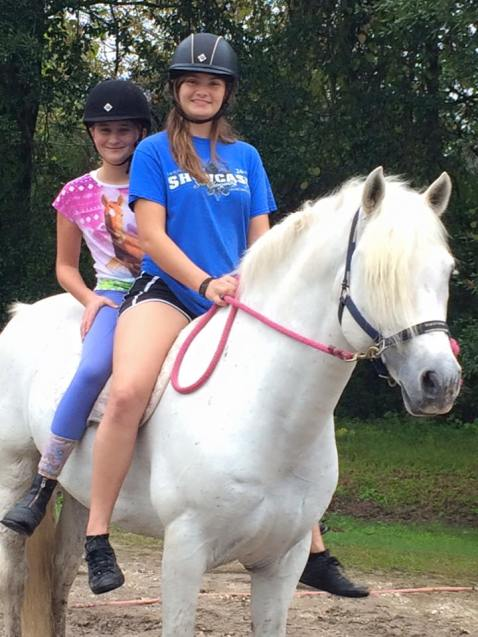 Gabrielle and Ann Claire- bareback trail ride