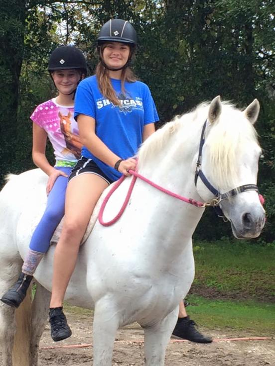 Gabrielle and Ann Claire- bareback trail ride